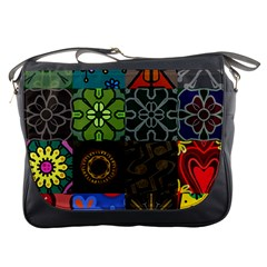 Digitally Created Abstract Patchwork Collage Pattern Messenger Bags