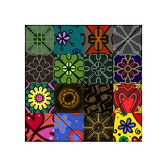 Digitally Created Abstract Patchwork Collage Pattern Acrylic Tangram Puzzle (4  X 4 )