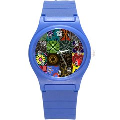 Digitally Created Abstract Patchwork Collage Pattern Round Plastic Sport Watch (s)