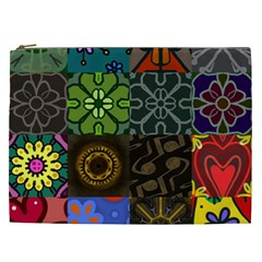 Digitally Created Abstract Patchwork Collage Pattern Cosmetic Bag (xxl)