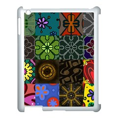 Digitally Created Abstract Patchwork Collage Pattern Apple iPad 3/4 Case (White)