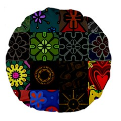 Digitally Created Abstract Patchwork Collage Pattern Large 18  Premium Round Cushions