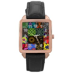 Digitally Created Abstract Patchwork Collage Pattern Rose Gold Leather Watch