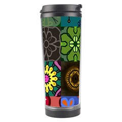 Digitally Created Abstract Patchwork Collage Pattern Travel Tumbler