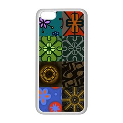 Digitally Created Abstract Patchwork Collage Pattern Apple iPhone 5C Seamless Case (White)