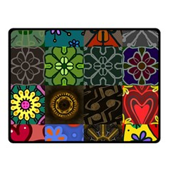 Digitally Created Abstract Patchwork Collage Pattern Double Sided Fleece Blanket (small)