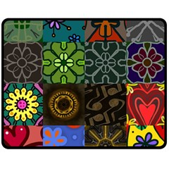 Digitally Created Abstract Patchwork Collage Pattern Double Sided Fleece Blanket (Medium)