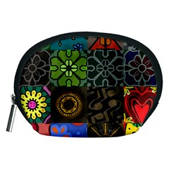 Digitally Created Abstract Patchwork Collage Pattern Accessory Pouches (medium)