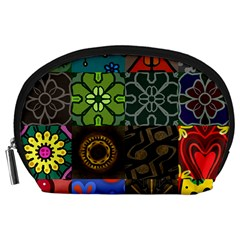Digitally Created Abstract Patchwork Collage Pattern Accessory Pouches (large)