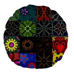 Digitally Created Abstract Patchwork Collage Pattern Large 18  Premium Flano Round Cushions