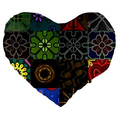 Digitally Created Abstract Patchwork Collage Pattern Large 19  Premium Flano Heart Shape Cushions