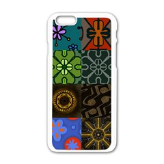 Digitally Created Abstract Patchwork Collage Pattern Apple Iphone 6/6s White Enamel Case