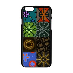Digitally Created Abstract Patchwork Collage Pattern Apple Iphone 6/6s Black Enamel Case