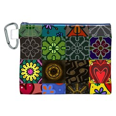 Digitally Created Abstract Patchwork Collage Pattern Canvas Cosmetic Bag (xxl)