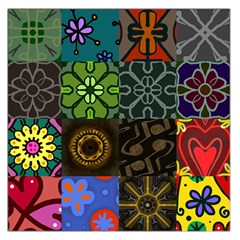 Digitally Created Abstract Patchwork Collage Pattern Large Satin Scarf (Square)