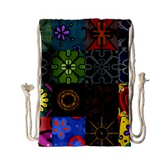 Digitally Created Abstract Patchwork Collage Pattern Drawstring Bag (small)