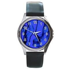 Blue Velvet Ribbon Background Round Metal Watch