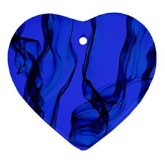 Blue Velvet Ribbon Background Ornament (Heart)
