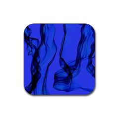 Blue Velvet Ribbon Background Rubber Coaster (Square)