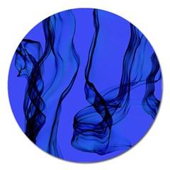 Blue Velvet Ribbon Background Magnet 5  (Round)