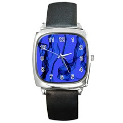 Blue Velvet Ribbon Background Square Metal Watch