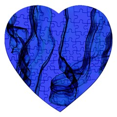 Blue Velvet Ribbon Background Jigsaw Puzzle (heart)
