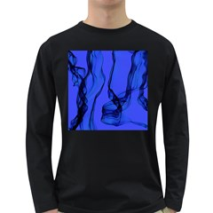 Blue Velvet Ribbon Background Long Sleeve Dark T-Shirts