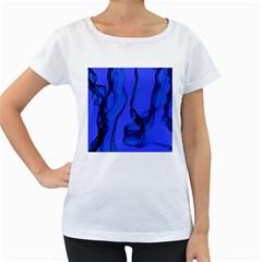 Blue Velvet Ribbon Background Women s Loose-Fit T-Shirt (White)