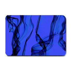 Blue Velvet Ribbon Background Small Doormat