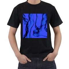 Blue Velvet Ribbon Background Men s T Shirt (black)