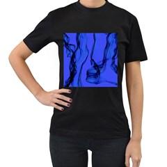 Blue Velvet Ribbon Background Women s T-Shirt (Black)