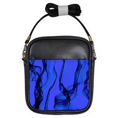 Blue Velvet Ribbon Background Girls Sling Bags