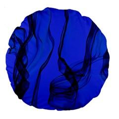 Blue Velvet Ribbon Background Large 18  Premium Round Cushions