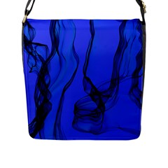 Blue Velvet Ribbon Background Flap Messenger Bag (L)