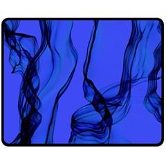 Blue Velvet Ribbon Background Double Sided Fleece Blanket (Medium)
