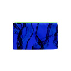 Blue Velvet Ribbon Background Cosmetic Bag (xs)