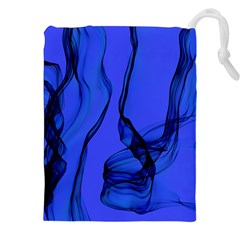 Blue Velvet Ribbon Background Drawstring Pouches (XXL)