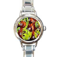 Neutral Abstract Picture Sweet Shit Confectioner Round Italian Charm Watch