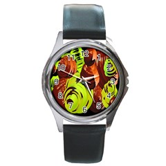 Neutral Abstract Picture Sweet Shit Confectioner Round Metal Watch