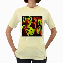 Neutral Abstract Picture Sweet Shit Confectioner Women s Yellow T-Shirt