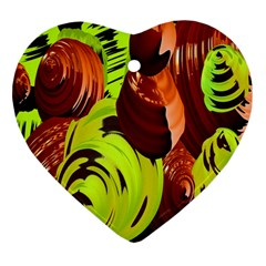 Neutral Abstract Picture Sweet Shit Confectioner Heart Ornament (two Sides)