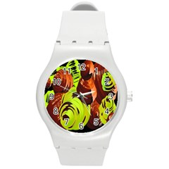Neutral Abstract Picture Sweet Shit Confectioner Round Plastic Sport Watch (M)