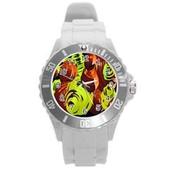 Neutral Abstract Picture Sweet Shit Confectioner Round Plastic Sport Watch (l)