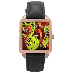 Neutral Abstract Picture Sweet Shit Confectioner Rose Gold Leather Watch