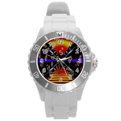 Diamond Manufacture Round Plastic Sport Watch (l)