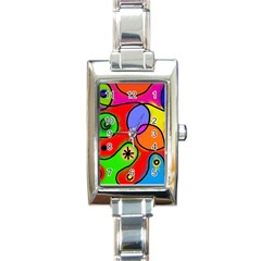 Digitally Painted Patchwork Shapes With Bold Colours Rectangle Italian Charm Watch