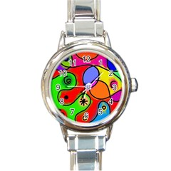 Digitally Painted Patchwork Shapes With Bold Colours Round Italian Charm Watch