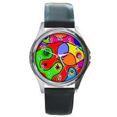 Digitally Painted Patchwork Shapes With Bold Colours Round Metal Watch