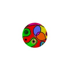 Digitally Painted Patchwork Shapes With Bold Colours 1  Mini Buttons