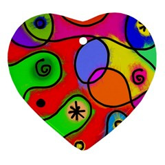 Digitally Painted Patchwork Shapes With Bold Colours Ornament (heart)